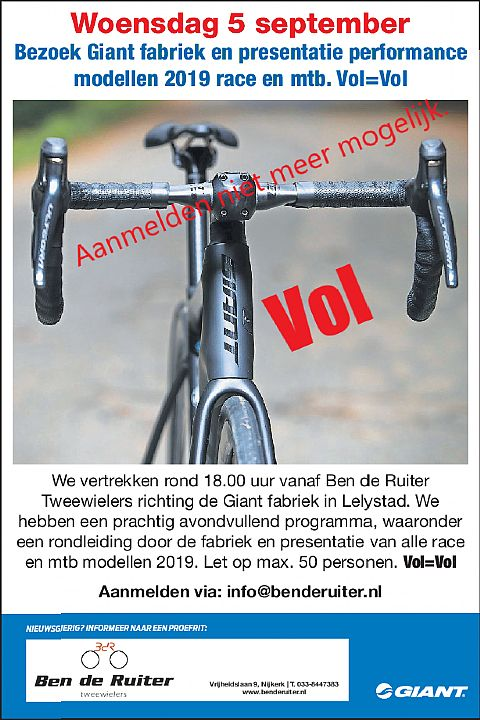 ��Woensdag 5 september. Bezoek Giant fabriek en presentatie performance modellen 2019 race en mtb. Vol=Vol!